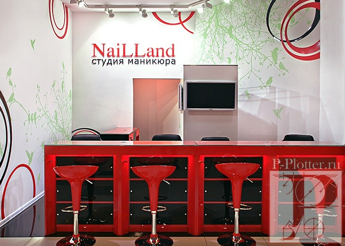 Трафареты в дизайне интерьера студия маникюра NailLand