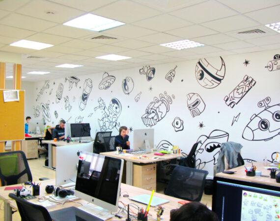 Наклейки на стены офиса ZeptoLab